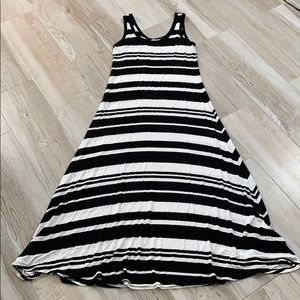 Calvin Klein Black White Striped Jersey Maxi Dress